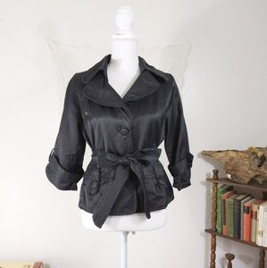 Luii Anthro shiny black dinner coat / blazer